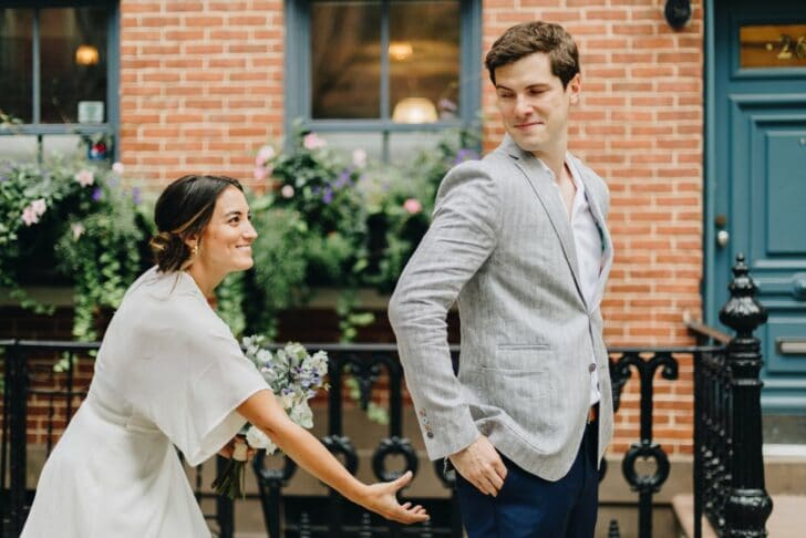 NYC rooftop elopement - cute first look