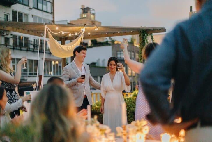 NYC rooftop elopement - wedding toasts