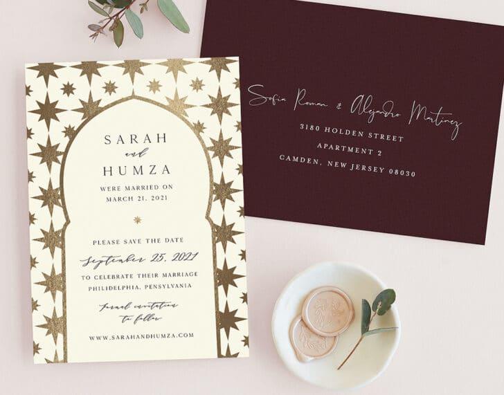 Minted Wedding Invitations - Free Address Printing - White Ink
