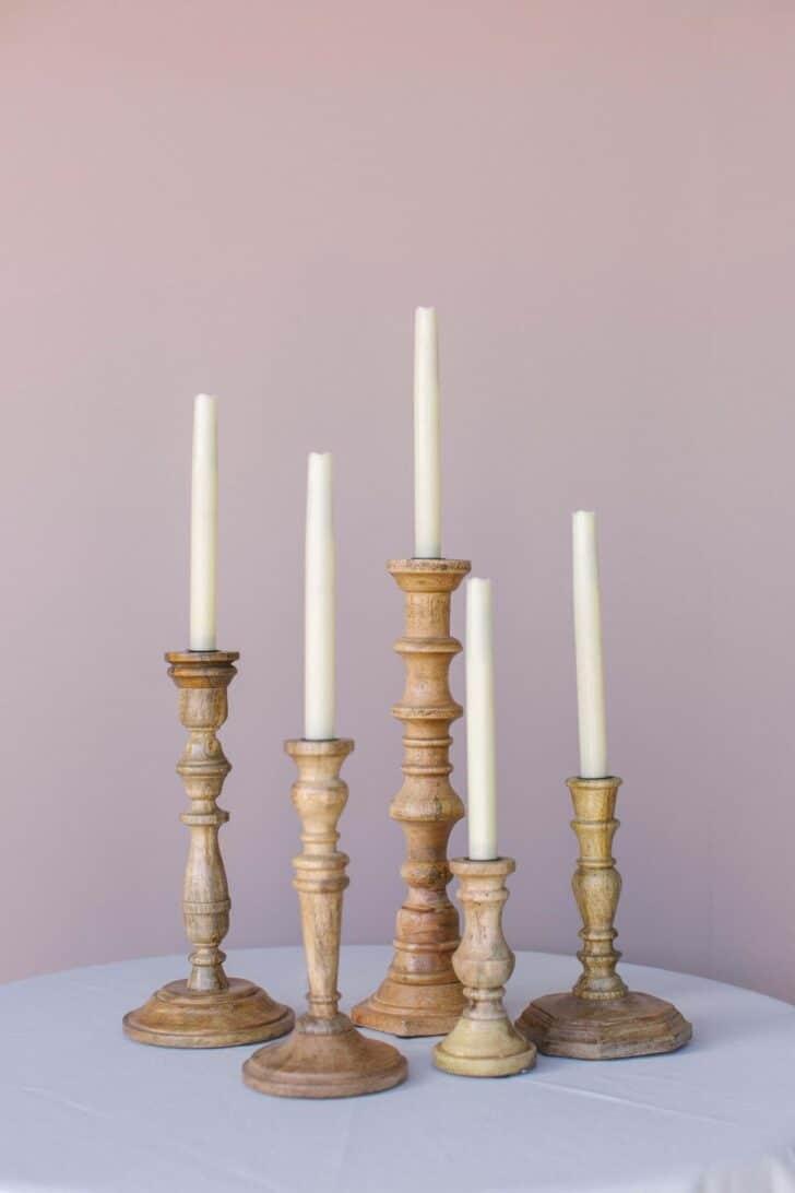 Something Borrowed Blooms Nina Collection - Boho Wedding Style Inspiration - Wooden Candlesticks