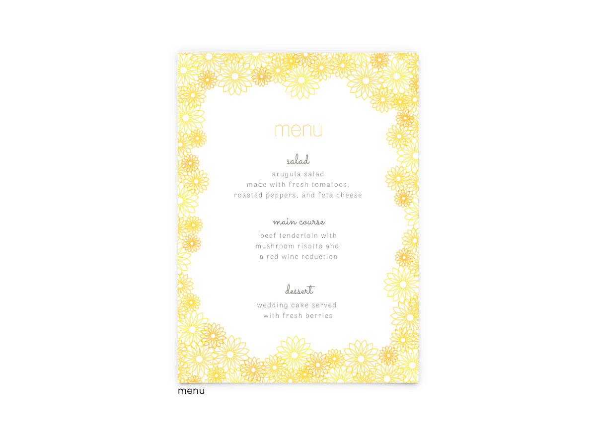 Free Editable Wedding Menus • Suzy Collection • The Budget Savvy Bride