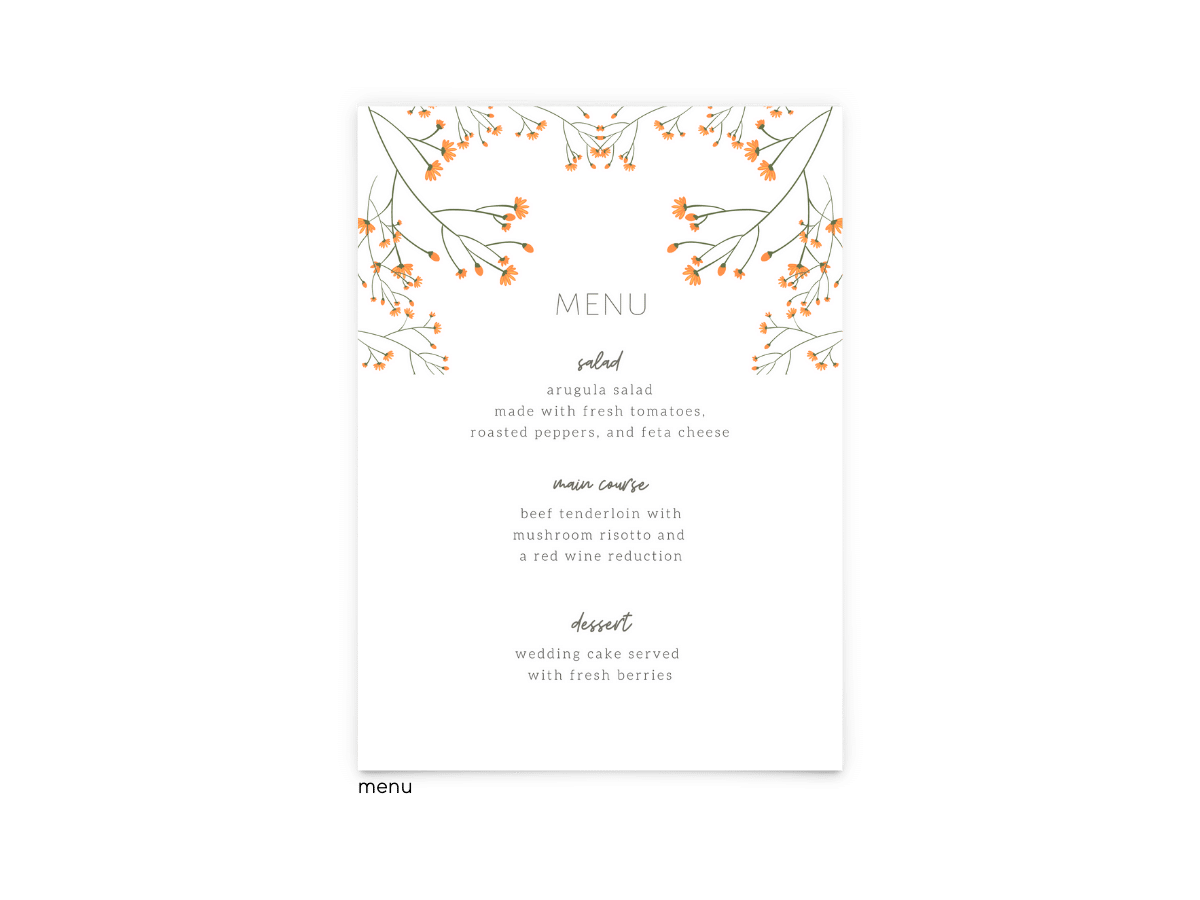 Free Editable Wedding Menus • Bryce Collection • The Budget Savvy Bride