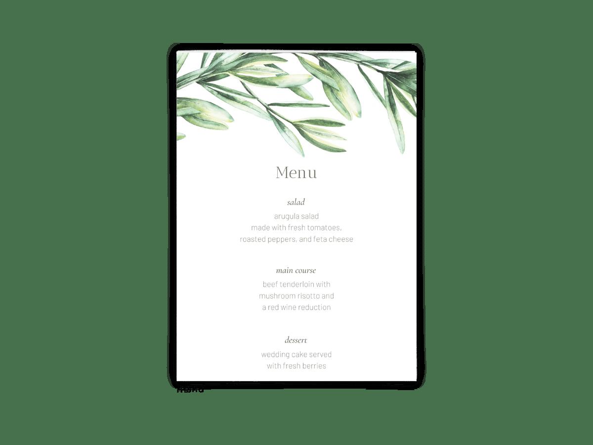 Free Editable Wedding Menus • Chelsea Collection • The Budget Savvy Bride