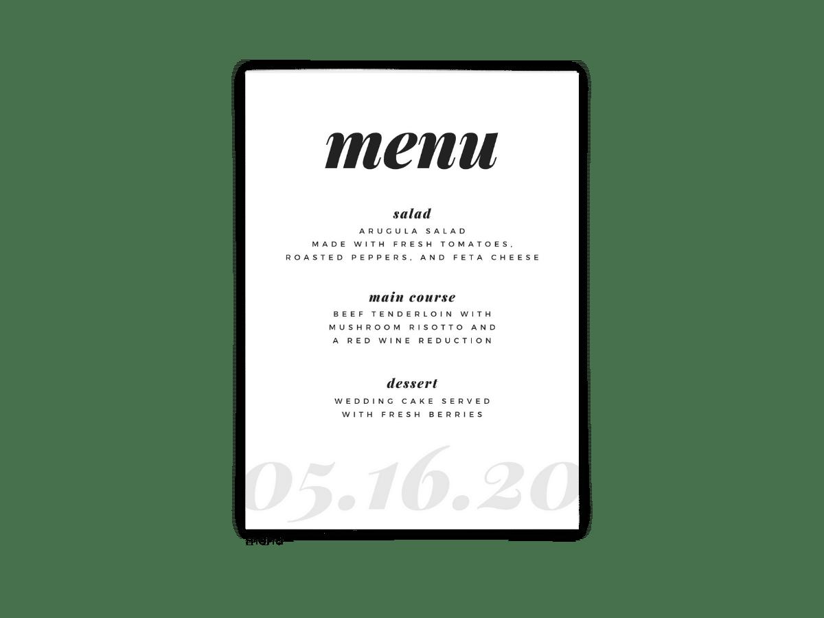 Free Editable Wedding Menus • Lily Collection • The Budget Savvy Bride