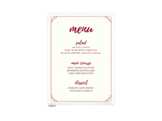 Free Editable Wedding Menus • Mallory Collection • The Budget Savvy Bride