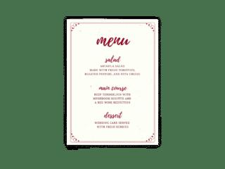 Free Editable Wedding Menus • Mallory Collection • The Budget Savvy Bride