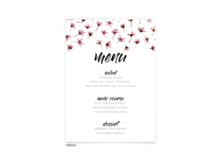 Free Editable Wedding Menus • Natalie Collection • The Budget Savvy Bride