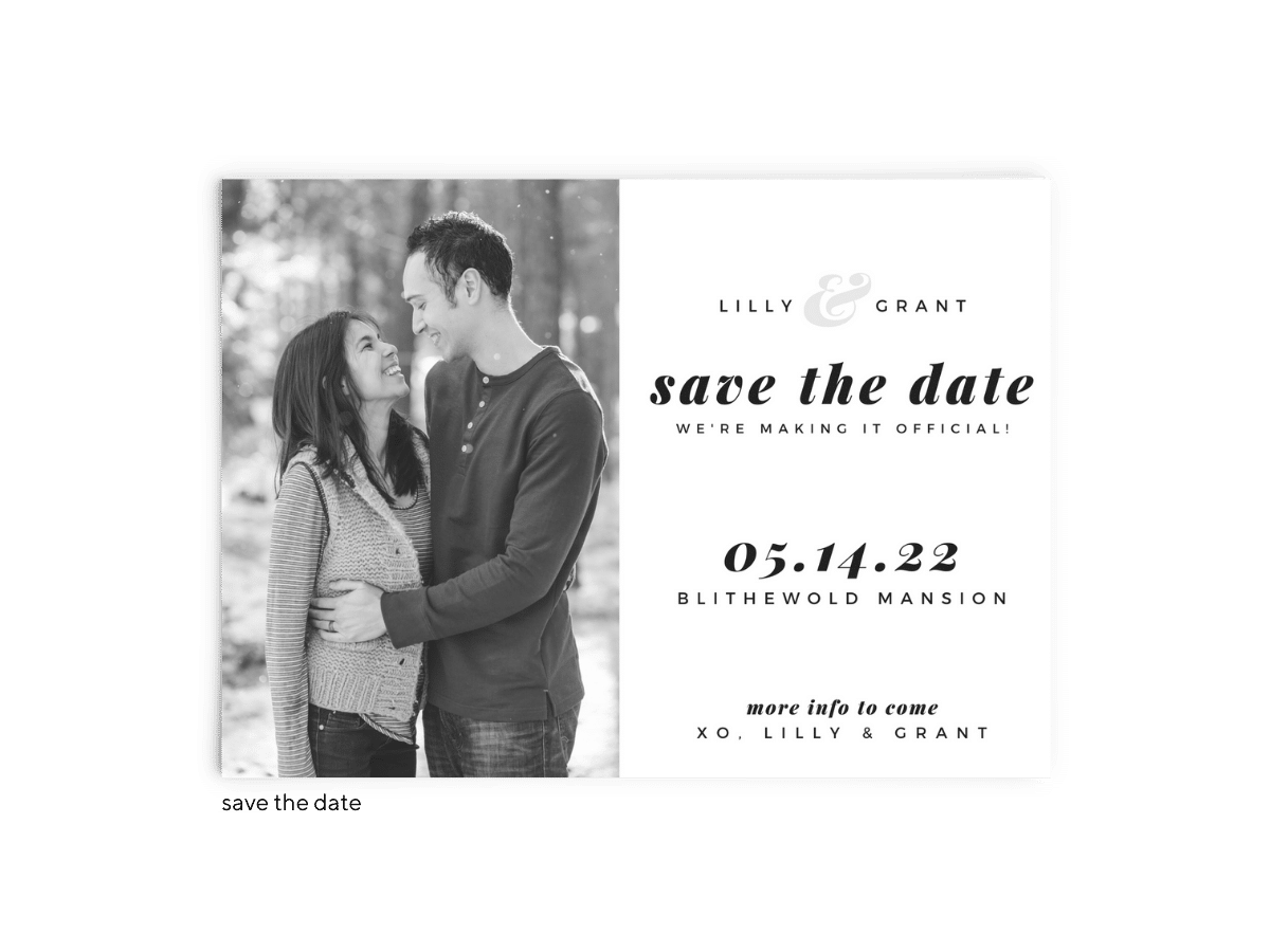 Save the Date Card • Lily Collection • The Budget Savvy Bride