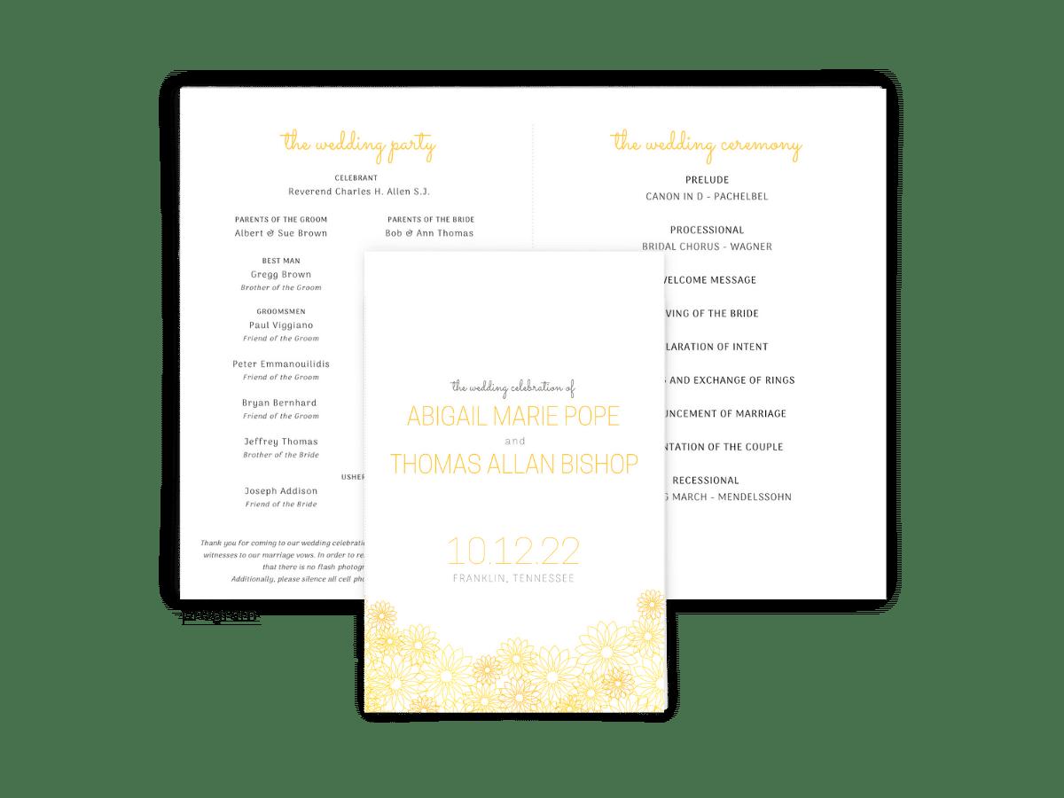 Free Editable Wedding Program • Suzy Collection • The Budget Savvy Bride