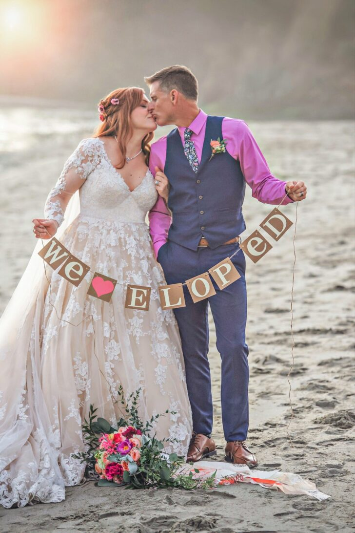 California Bride and Groom - we eloped sign