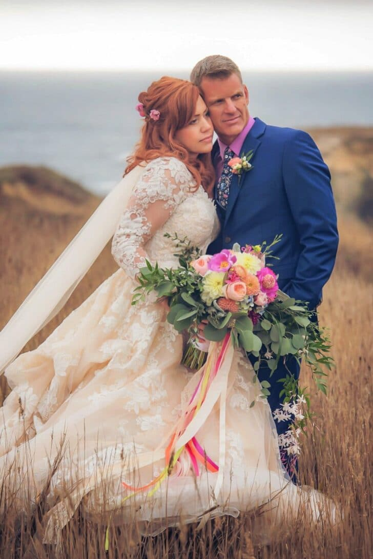 colorful California Bride and Groom