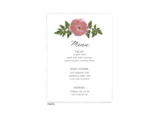 Free Editable Wedding Menus • Grace Collection • The Budget Savvy Bride