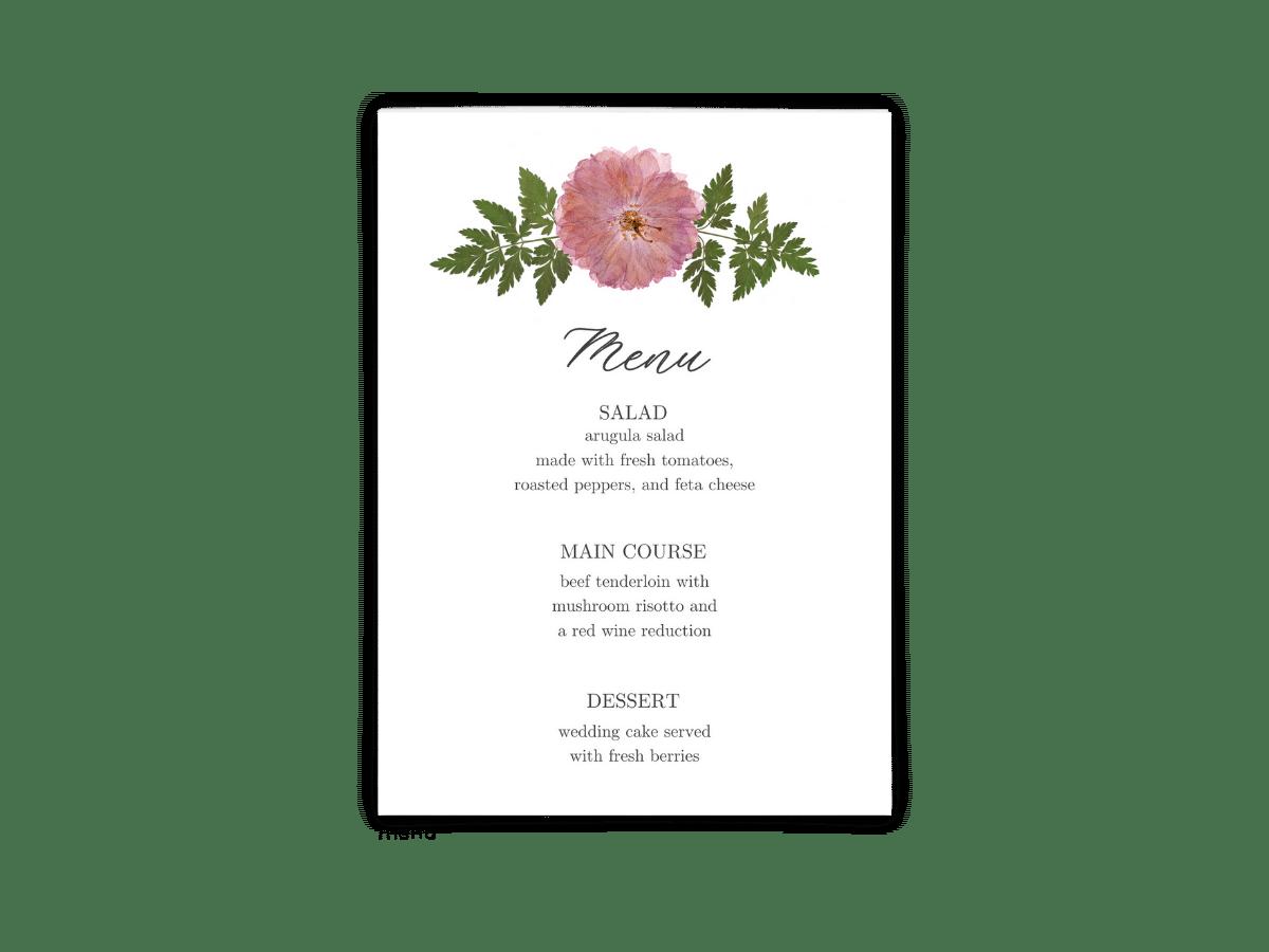 Free Editable Wedding Menus • Grace Collection • The Budget Savvy Bride