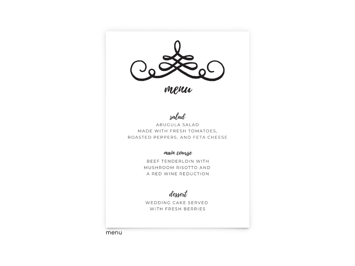 Free Editable Wedding Menus • Jennifer Collection • The Budget Savvy Bride