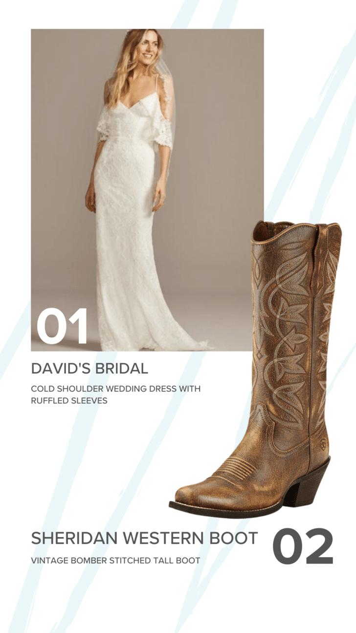 Botas de vaquero Ariat con vestidos de novia de botas Sheridan