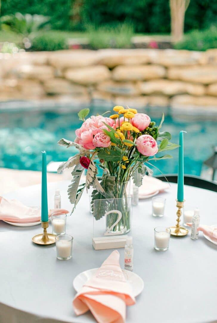 tablescape -Colorful DIY Micro Wedding