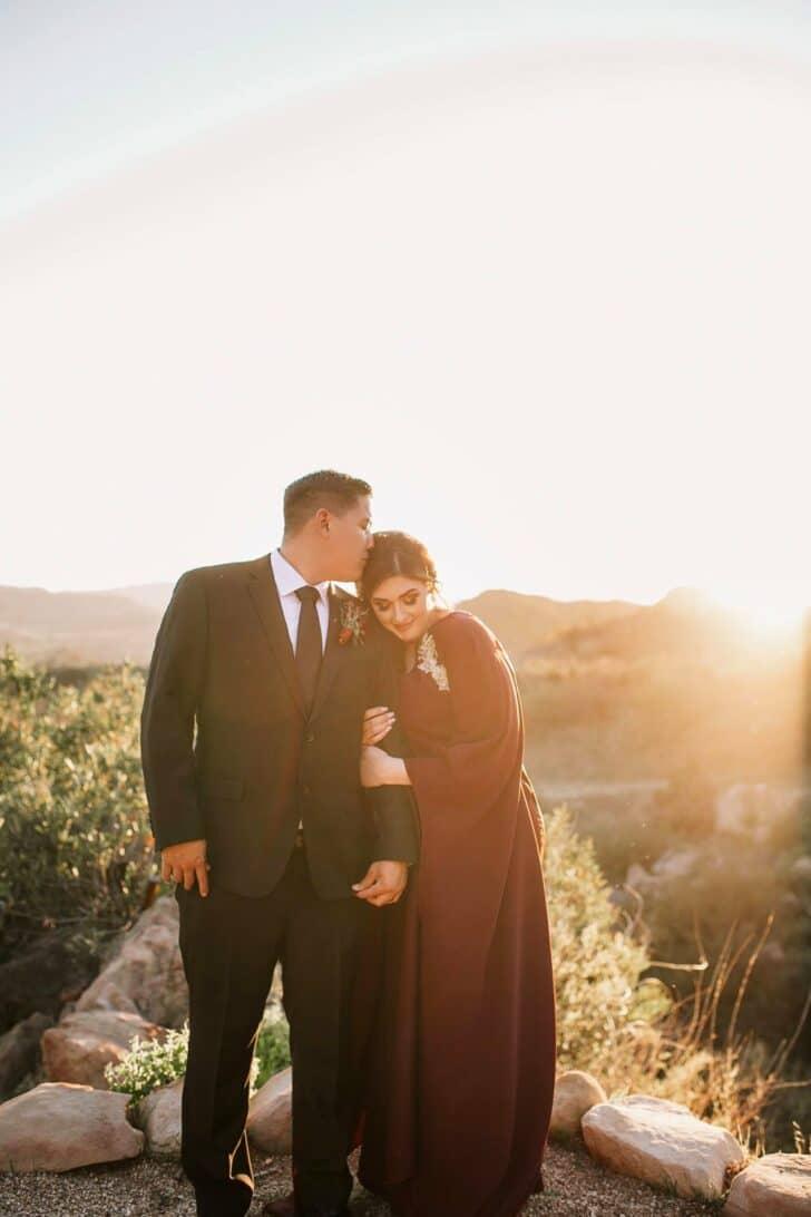 bride and groom - moody boho micro wedding