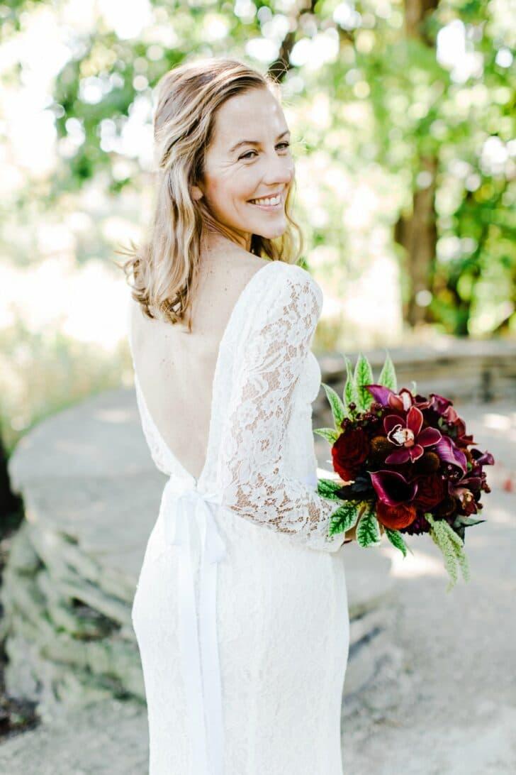 plunge back wedding dress