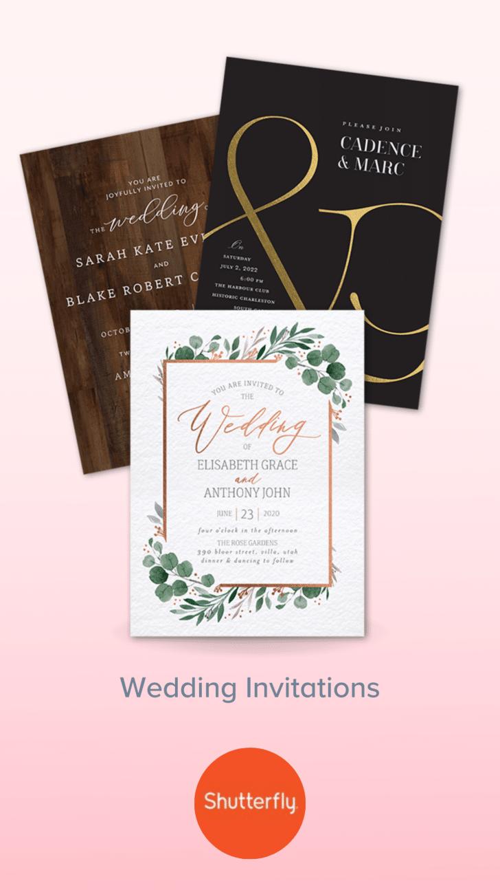 Invitaciones de boda personalizadas de Shutterfly