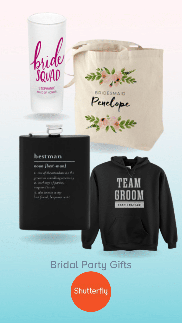 Customized bridal party gifts from Shutterfly
