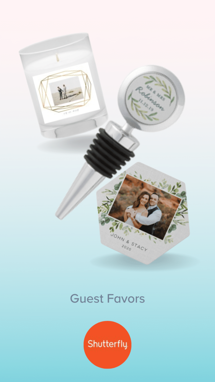 Customized Wedding guest favors from Shutterfly