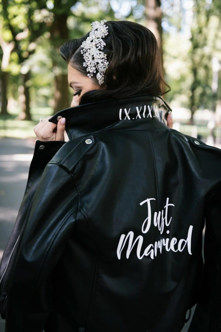 Chic Central Park Bride - leather jacket -just married