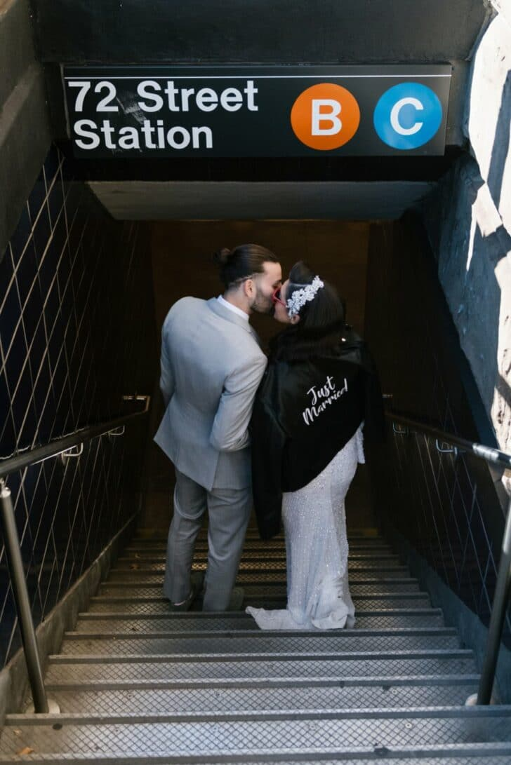 Chic Central Park Bride and Groom - NYC Subway