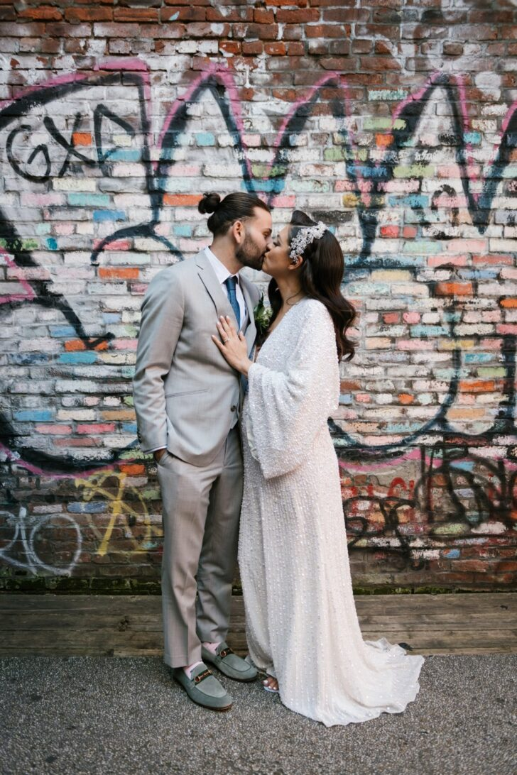 Chic Central Park Bride and Groom - graffiti background