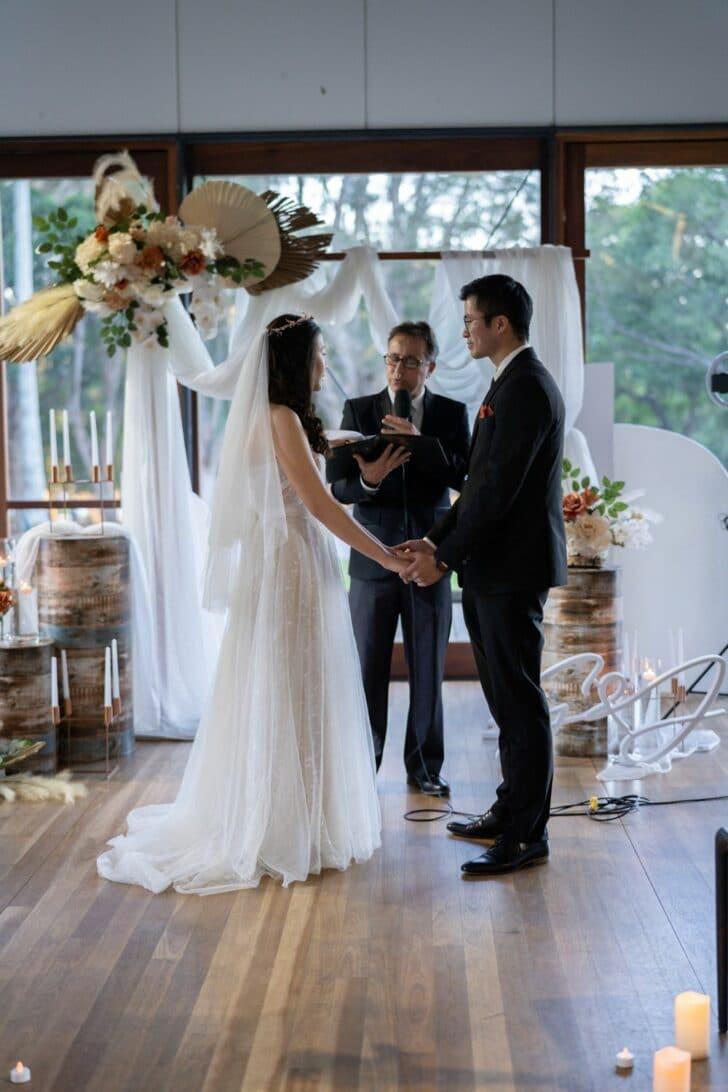 rustic DIY micro wedding - wedding ceremony