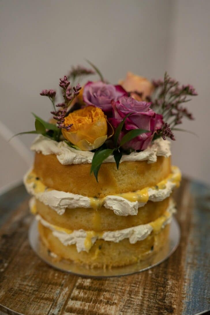 rustic DIY micro wedding - cake
