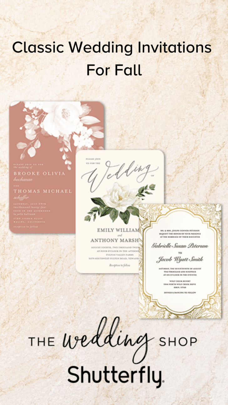 Classic Fall Wedding Invitations from Shutterfly
