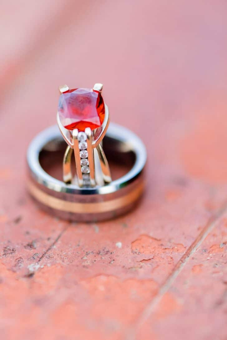 red stone engagement ring
