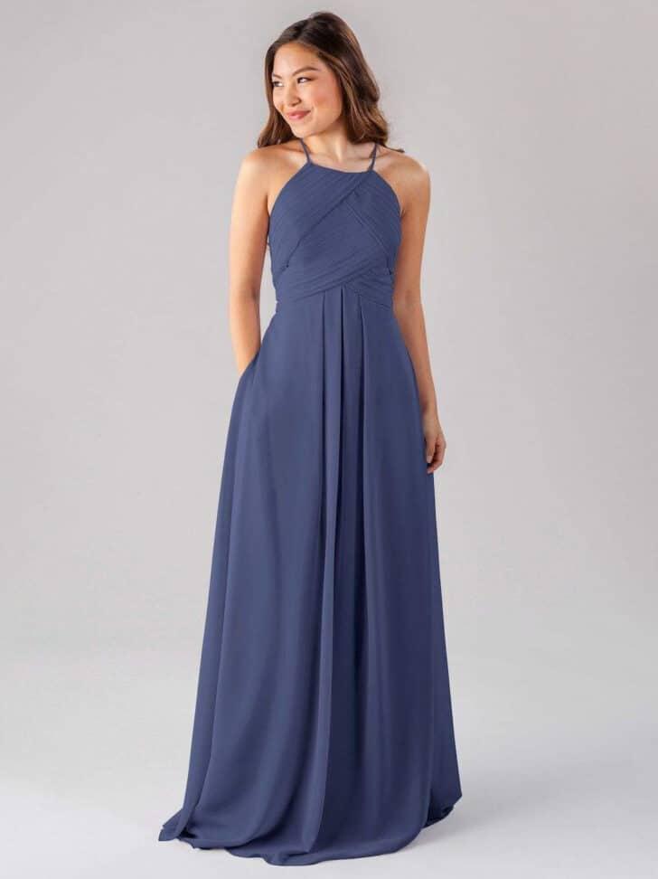 Vestido de damas de honor de otoño azul de Kennedy