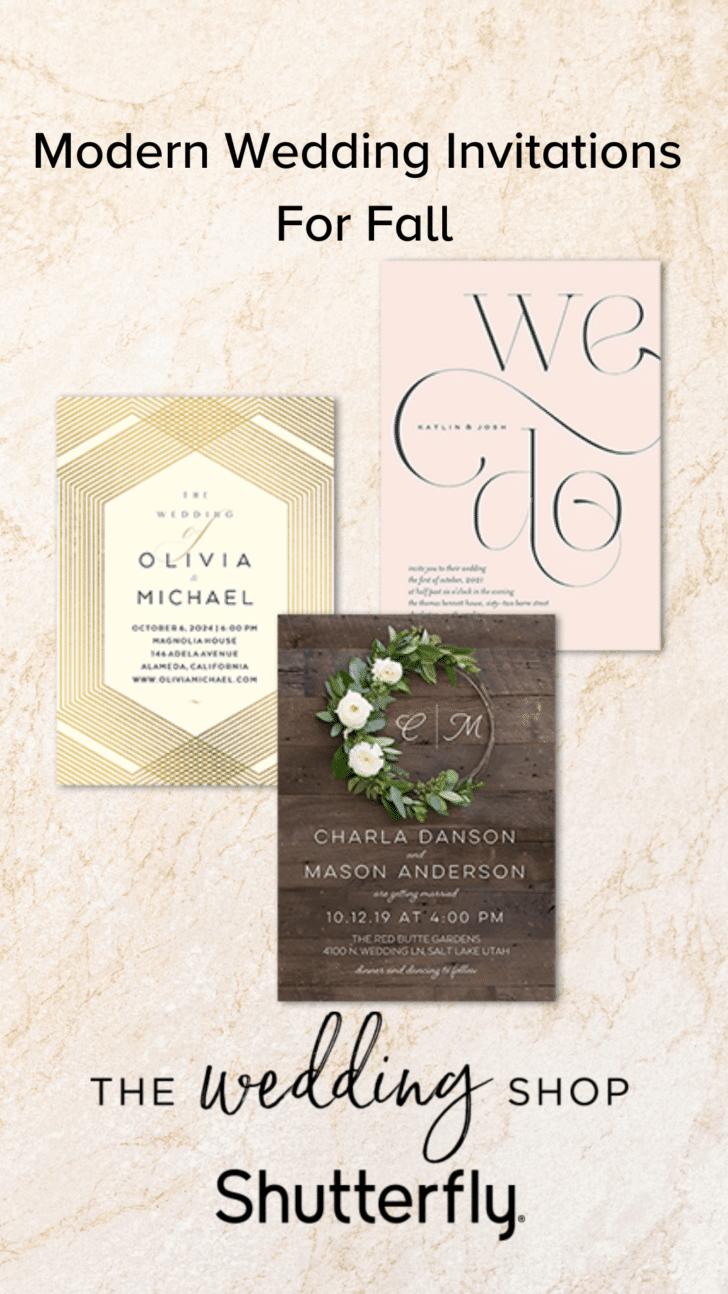 Modern Fall Wedding Invitations from Shutterfly