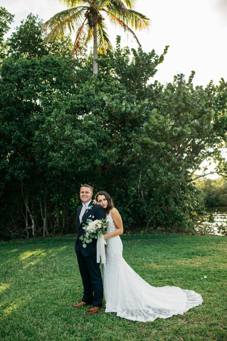 bride and groom DIY Winter Wedding In Florida