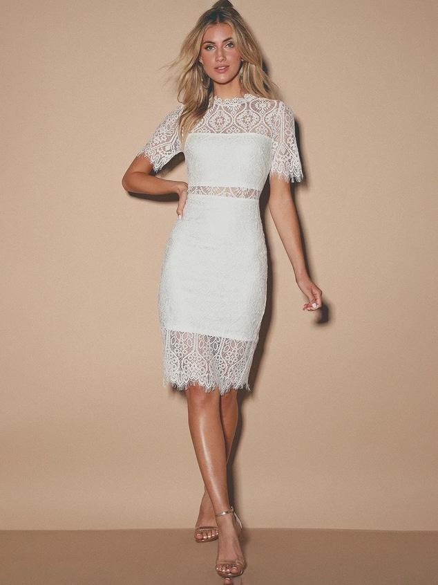 Vestido de encaje Illusion Lulus • $ 58 Vestidos de cena de ensayo asequibles