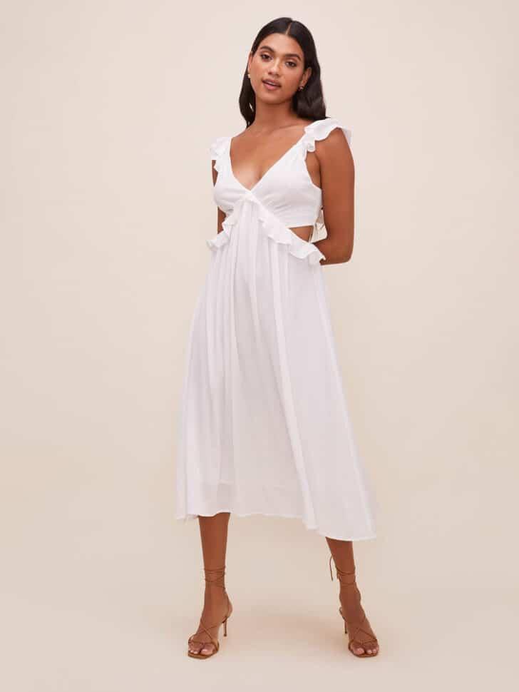 Ruffle Midi Dress bridal shower outfit