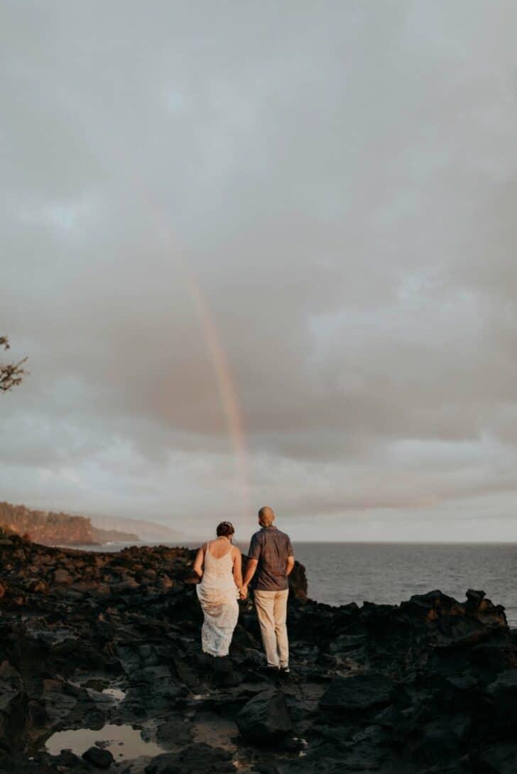 rainbow bride and groom
