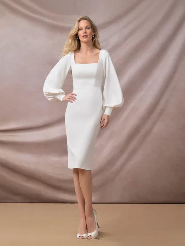 Vestido de globo de manga larga hasta la rodilla Azazie • Vestidos de ensayo asequibles a $ 149