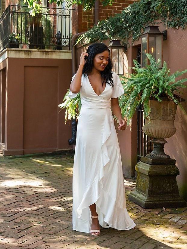 David's Bridal - Satin Ruffle Dress - Bridal Shower Outfit