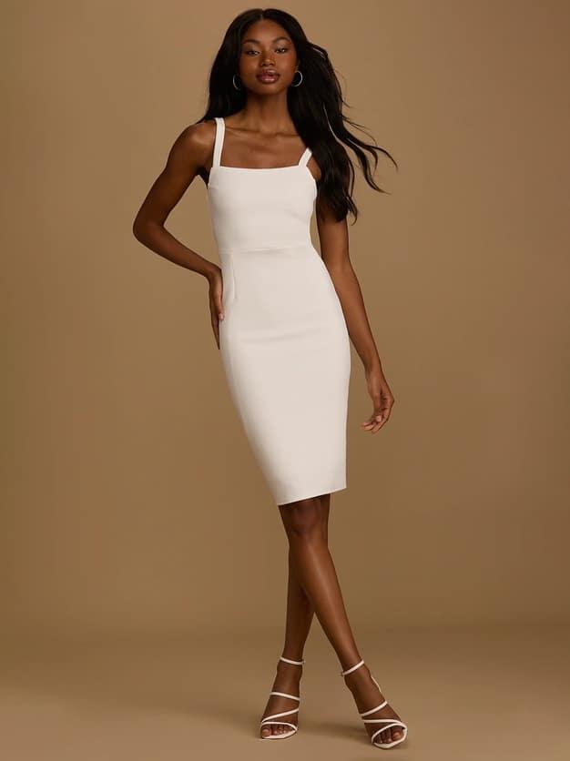 Vestido ajustado midi Lulus • Vestidos de cena de ensayo asequibles a $ 58