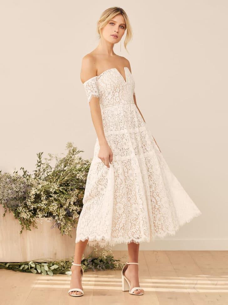 lulus bridal shower White Lace Midi Dress