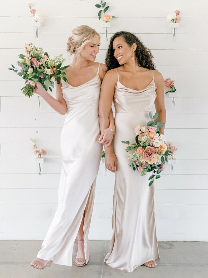 revelry bridal shower satin dress