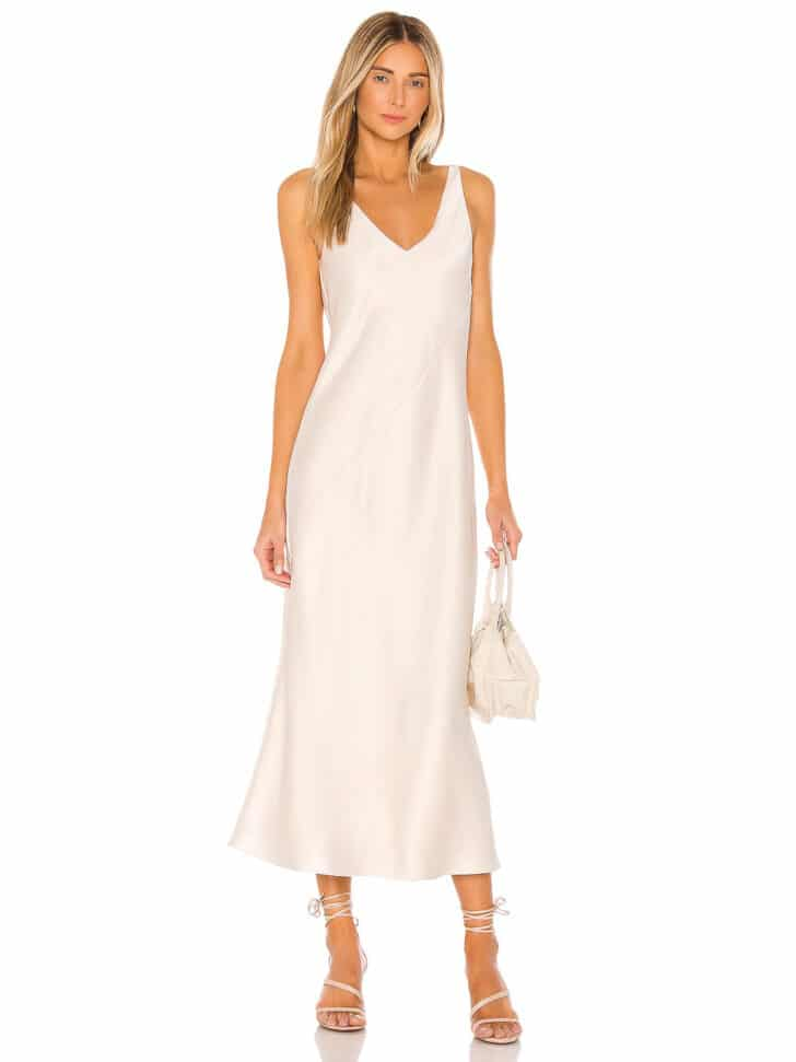 Vestido midi de satén Revolve • $ 88 Vestidos de ensayo asequibles para la cena