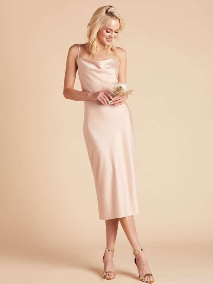 Birdy Grey Satin Midi Dress Bridal Shower Outfit