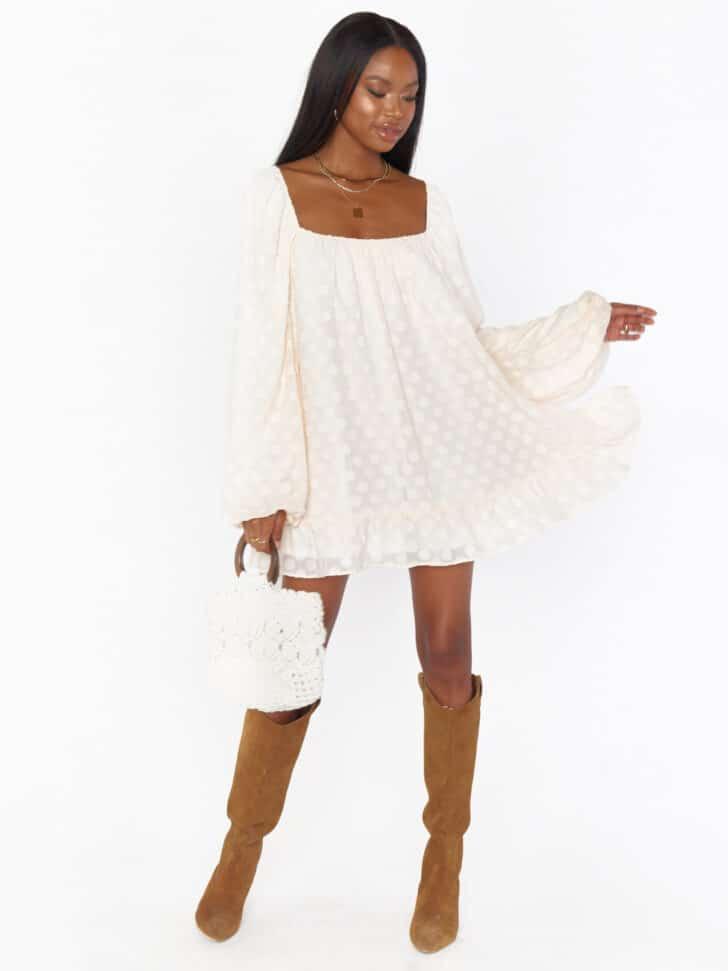 ShowMeYourMumu Minivestido de lunares • Vestidos de ensayo asequibles a $ 168