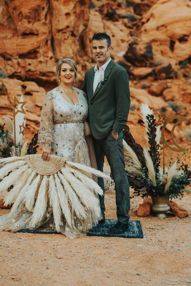 bride and groom boho chic