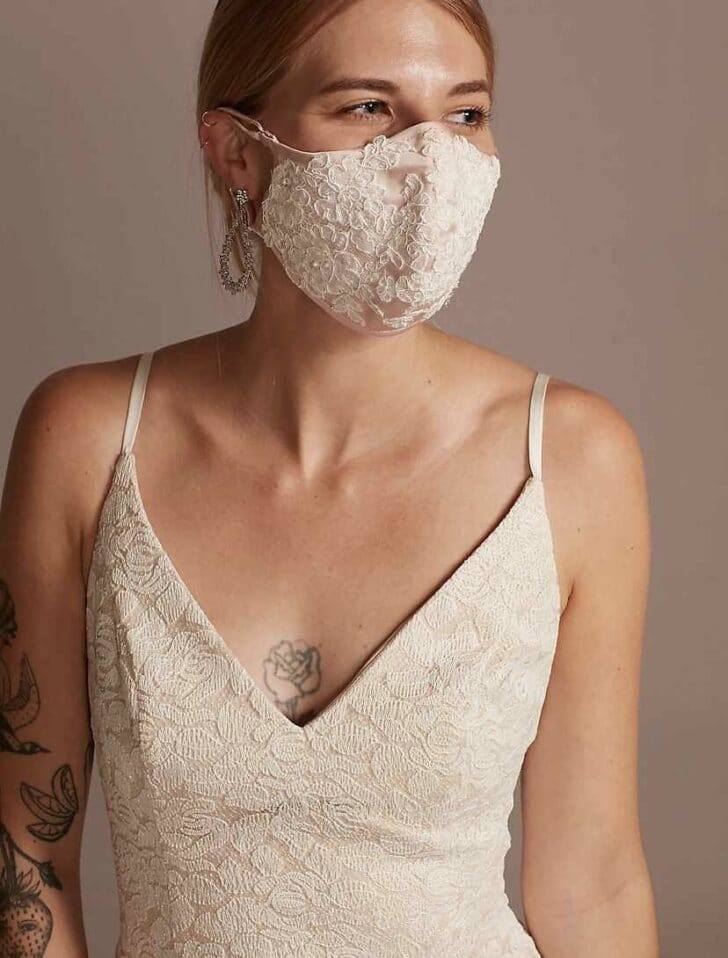 Satin Fashion Face Mask With Floral Lace Applique from David's Bridal