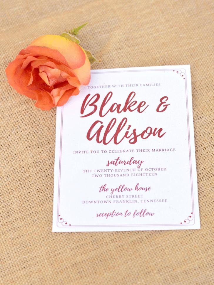fall wedding invitation printables