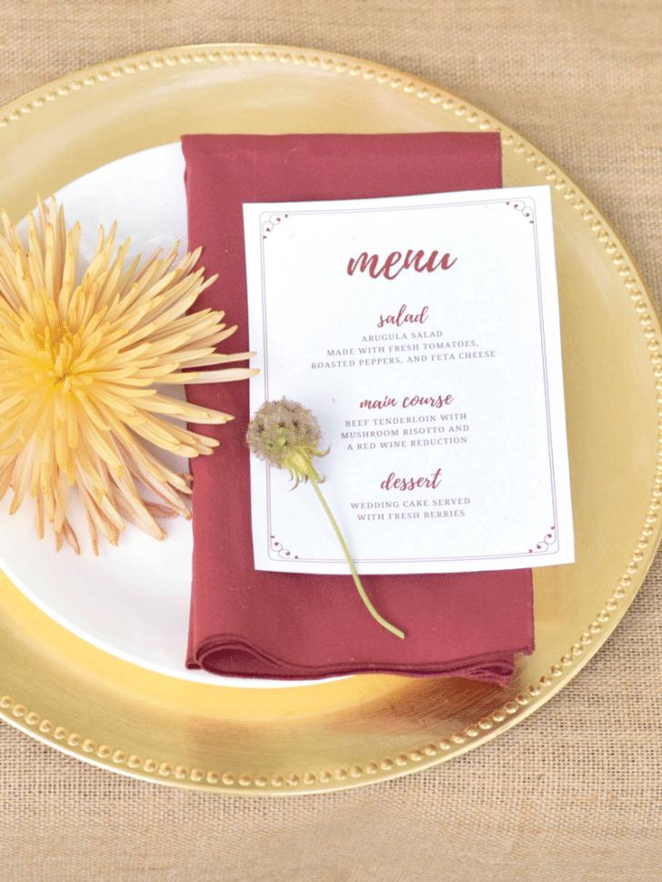 fall wedding menu printable